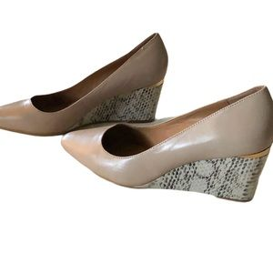 Calvin Klein Nude Pippa Leather Wedges